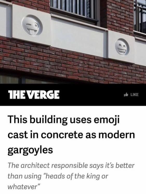 Emoji's on a building as concrete modern gargoyles