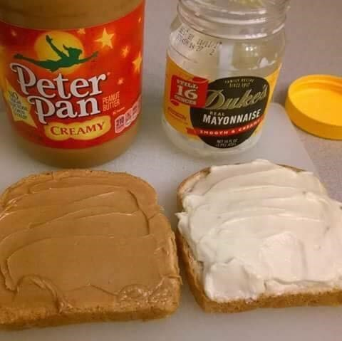Peanut butter and mayonnaise sandwich.