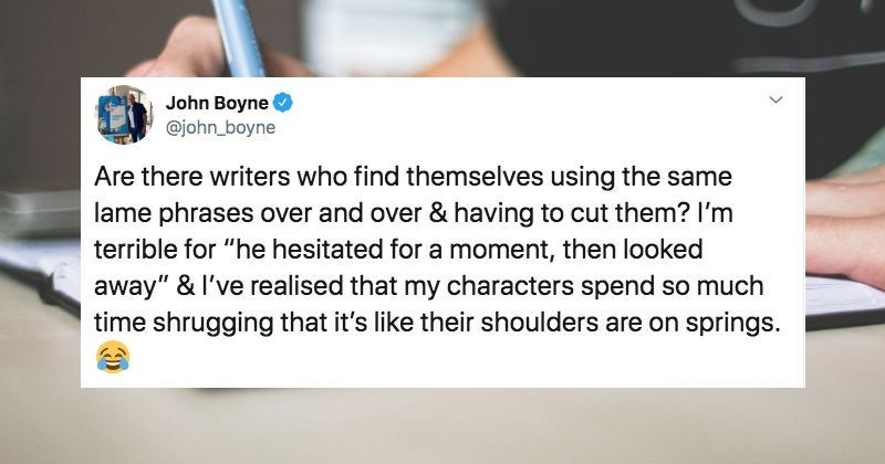 Various authors on Twitter are bonding with overused phrases that they find in literature.