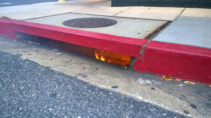 Fire raging in a storm drain