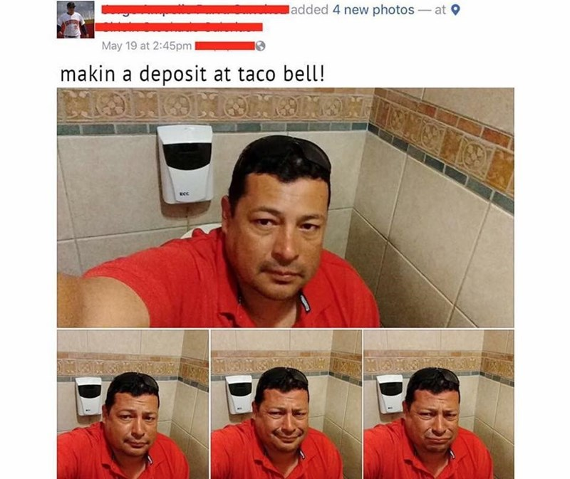 Facebook post of making a deposit at Taco Bell