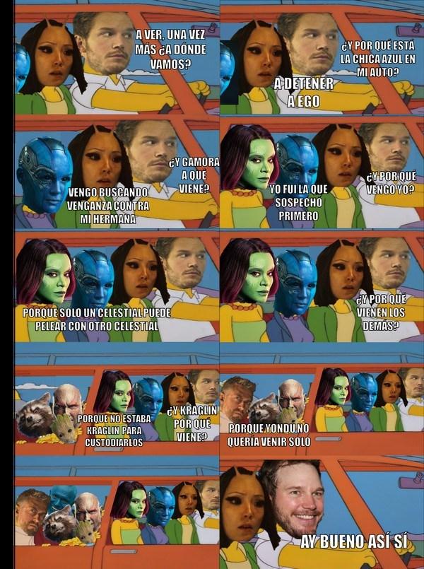 resumen de guardias of the galaxy en un solo meme