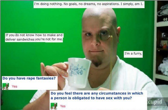Cringeworthy post of man with monocle and holding tea cup with little finger up that has some cringe worthy beliefs too.