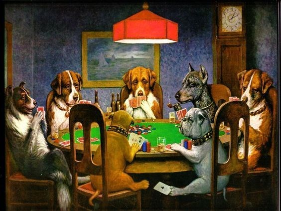Famous artwork of dogs playing poker.