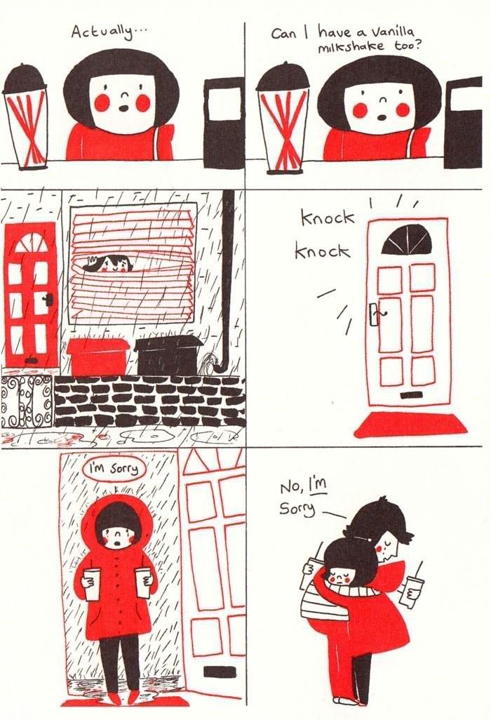 webcomic - Line - Actvally.. Can have a Vanilla Milkshake too? Knock knock 2OBěQCJ: (Im Sorry No, I'm Sorry A