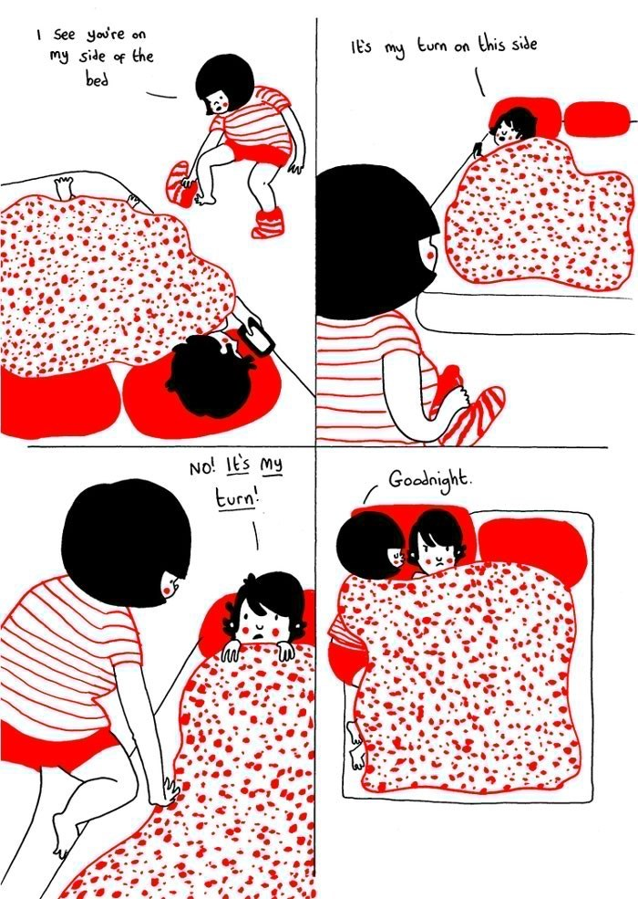 webcomic - Clip art - See youre on my side of the bed lEs mu tum on this side No! 1Es my Goodnight turn!