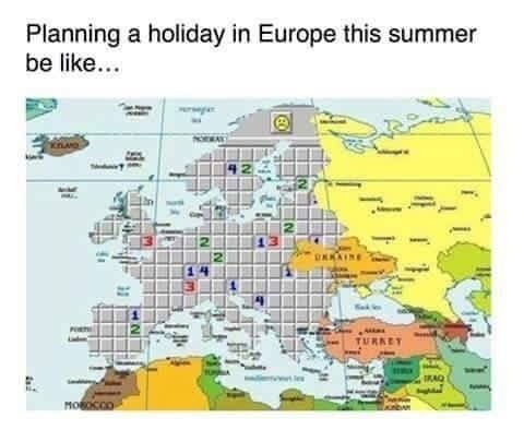 A photo of europe and the old school game of trying not to blow everything up