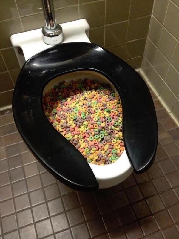 Toilet full of fruit loops