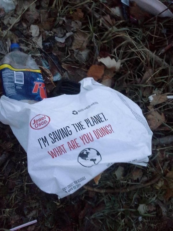 Jewel Osco bag discarded in nature that brags it is saving the world, what are you doing?