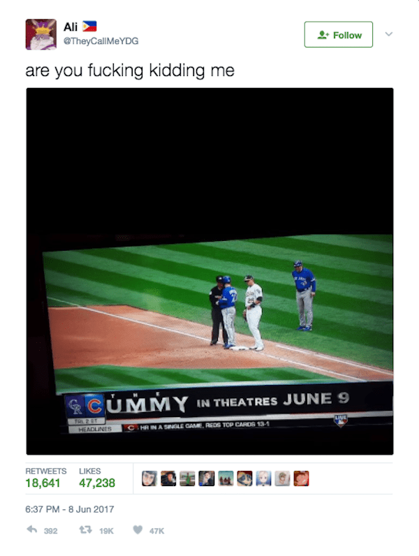 Tweet of a strange TV word because Mummy on the bottom along with C of Cubs logo make the word Cummy.