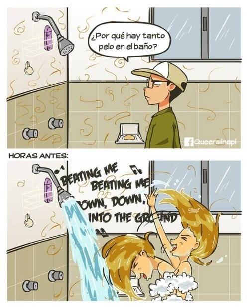 por que hay tanto pelo en la ducha la culpable es una mujer