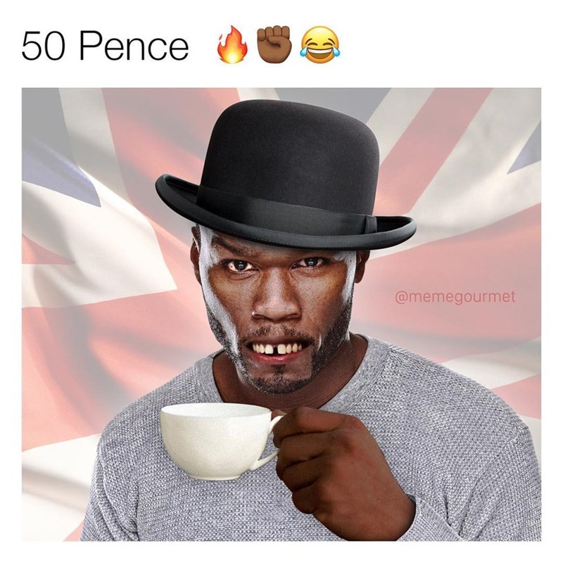 funny meme of 50 cent as a British version 50 pence.