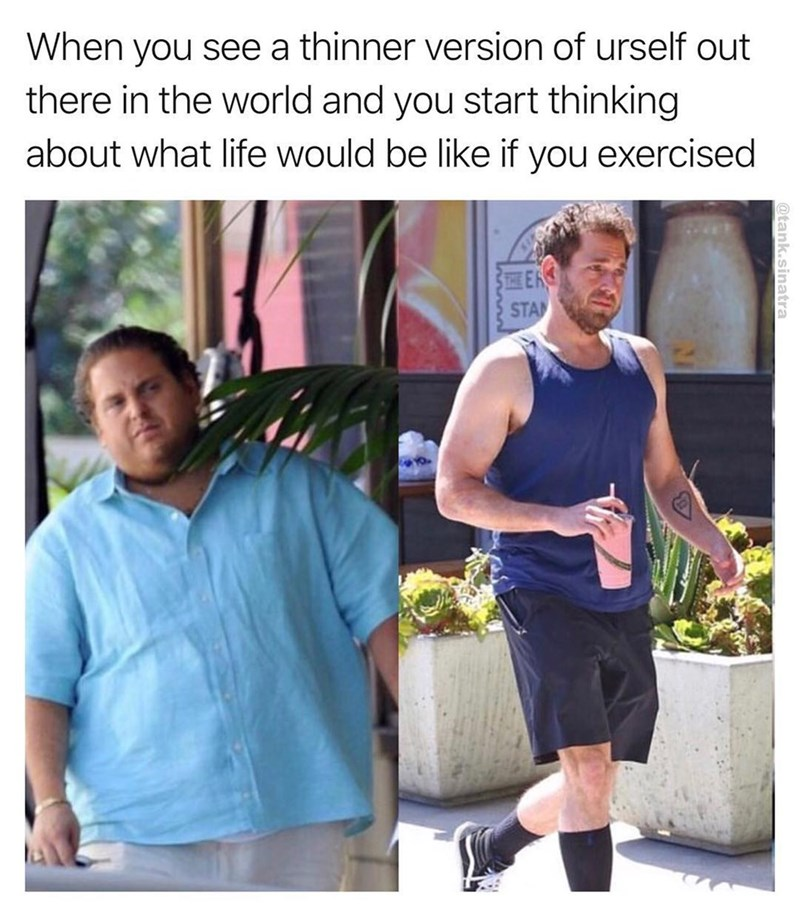 Meme of Jonah Hill as a skinny dude and fat dude joked as different people.