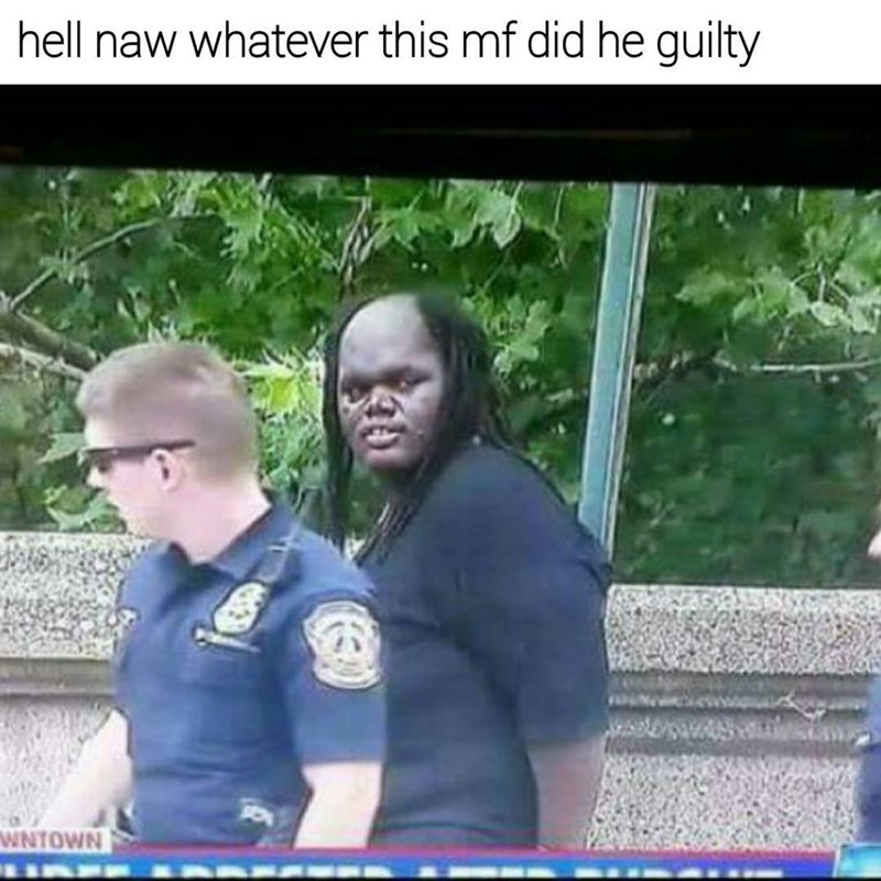 Meme that proclaims a suspect guilty because he totally looks like a half predator human hybrid.