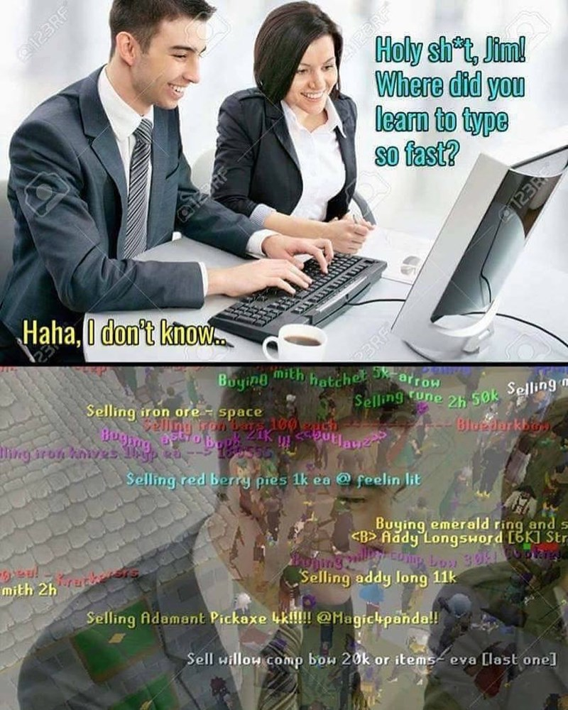 Meme about guy who types so fast the girl is impressed.