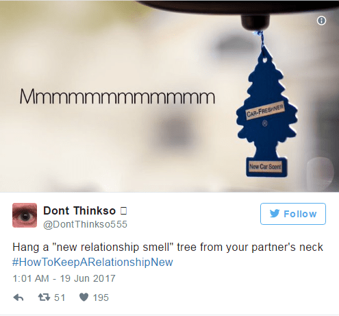 Tip on how to keep a relationship new by hanging a new relationship tree around their neck