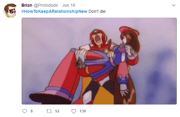 Transformer tweet about how to keep relationships alive and new.