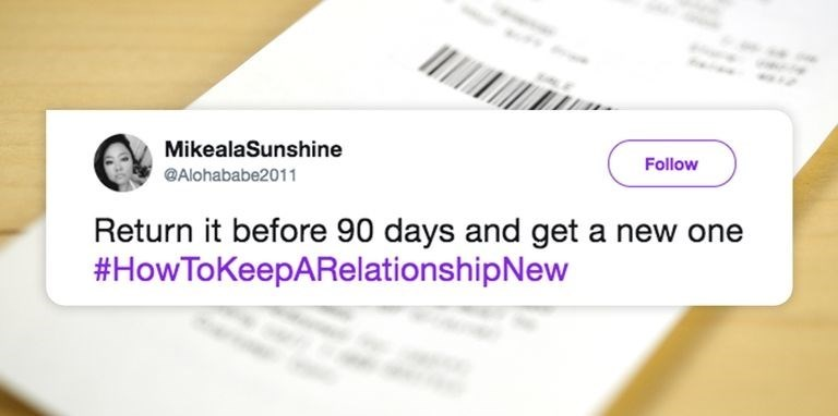 Meme about how to keep a relationship new by returning it before 90 days and getting a new one.