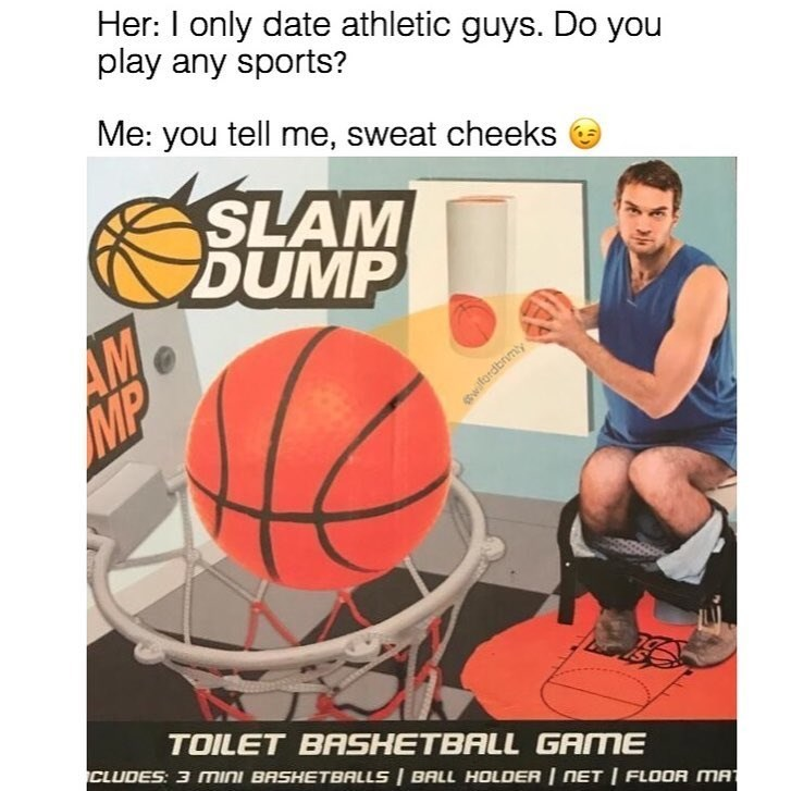 Funny meme about claiming one is athletic because sitting on toilet playing toilet basketball game.