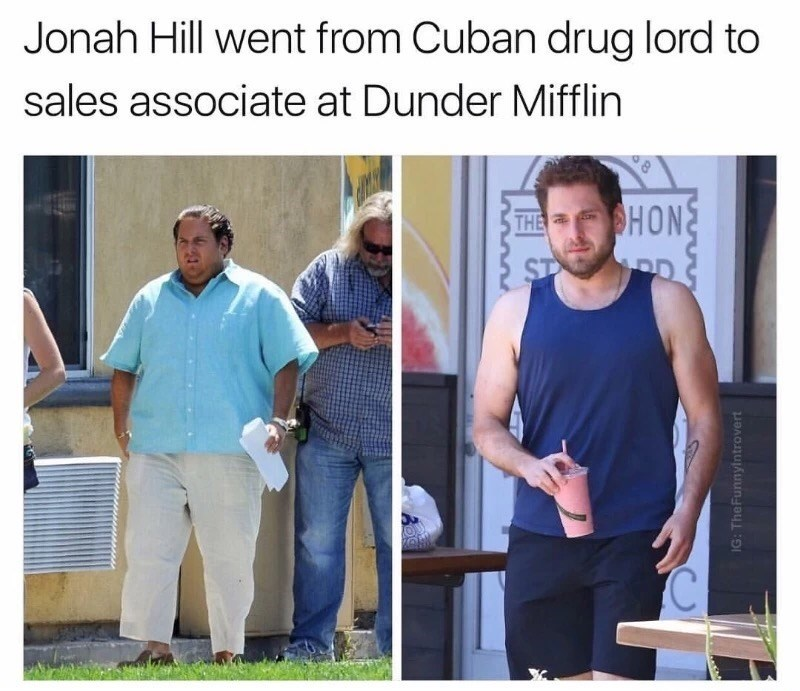 Thursday meme of Jonah Hill before and after his weightloss