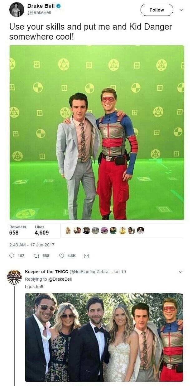 random meme of Drake Bell being Photoshoped into Josh Pecks wedding picture