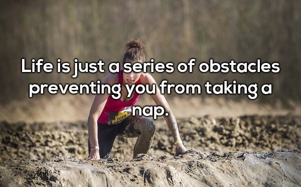 Text - Life is just a series of obstacles preventing you from taking a nap. dou