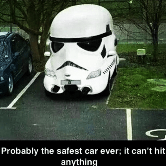 Picture of storm trooper car parked with joke about how they always miss their shots.