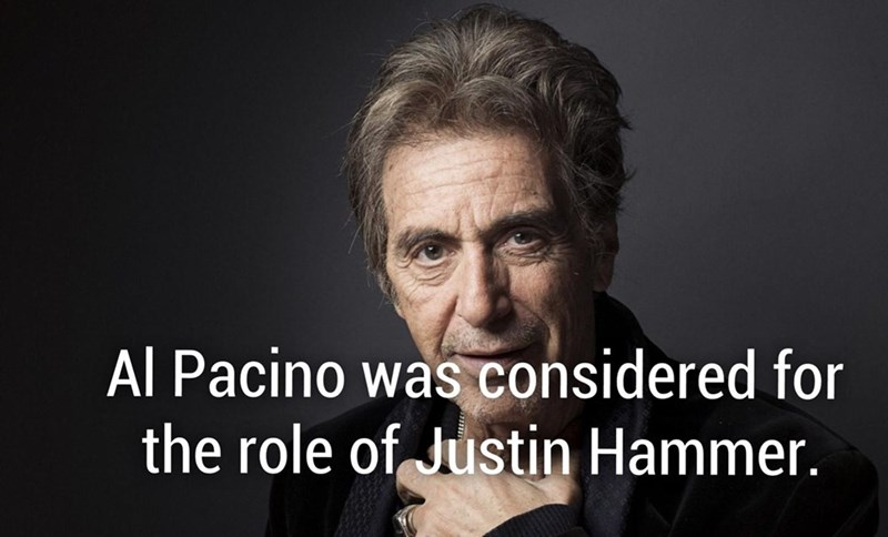 Al Pacino was considered for the role of Justin Hammer in Iron Man