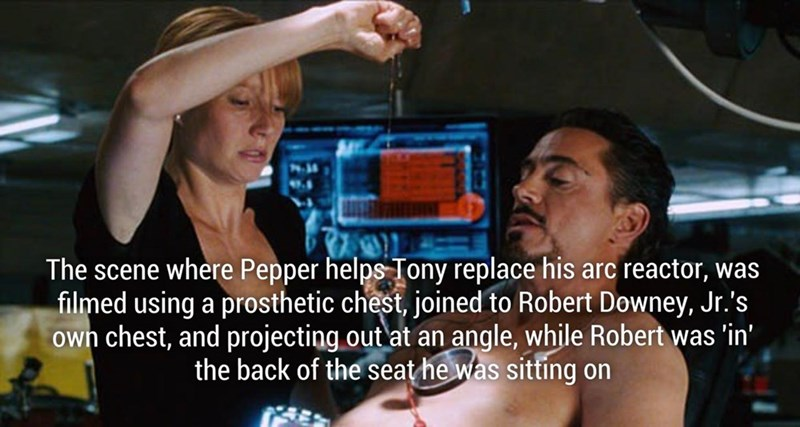 Fun fact about the scene where Pepper helps Tony replace his Arc Reactor was done.