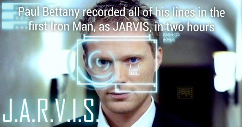 Iron man fun fact about how Paul Bettany recorded all his lines for the first Ironman as Jarvis in just 2 hours.