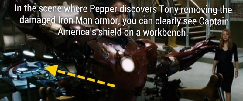 Captain America's workbench is clearly visible in the scene where Pepper discovers Tony removing the damaged Iron Man armor