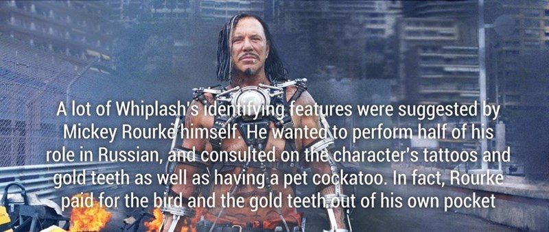 fun facts about Mickey Rourke paying for some details out of his own pocket for certain details for the character.