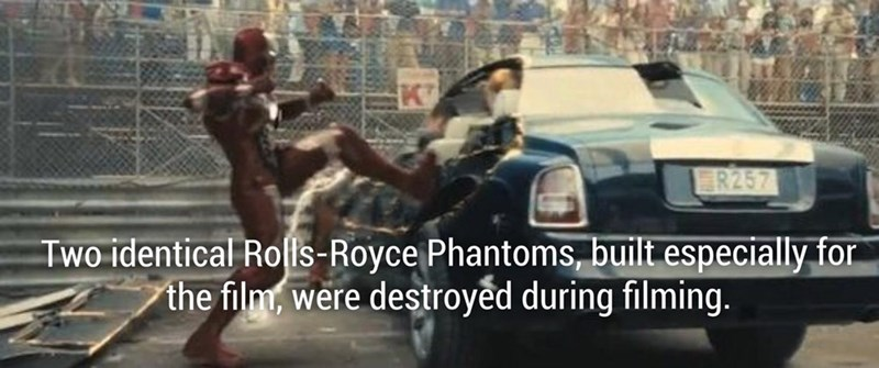 Ironman fun fact about how two identical Rolls Royce Phantoms were build especially for the film and got destroyed in filming.