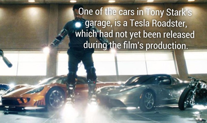 Fun fact about how one of Tony Stark's cars is the Tesla Roadster, which had not even been released yet at the time of production.