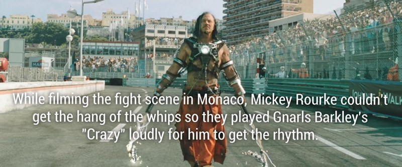 Fun fact about how Mickey Rourke couldn't get the hang of the whips in Monaco scene, so they played Gnarl's Barkley's Crazy song to help him get the rhythm