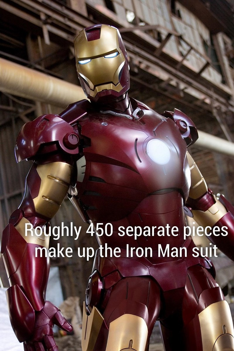 Fun fact how the Iron Man suit is made up of about 450 separate pieces.