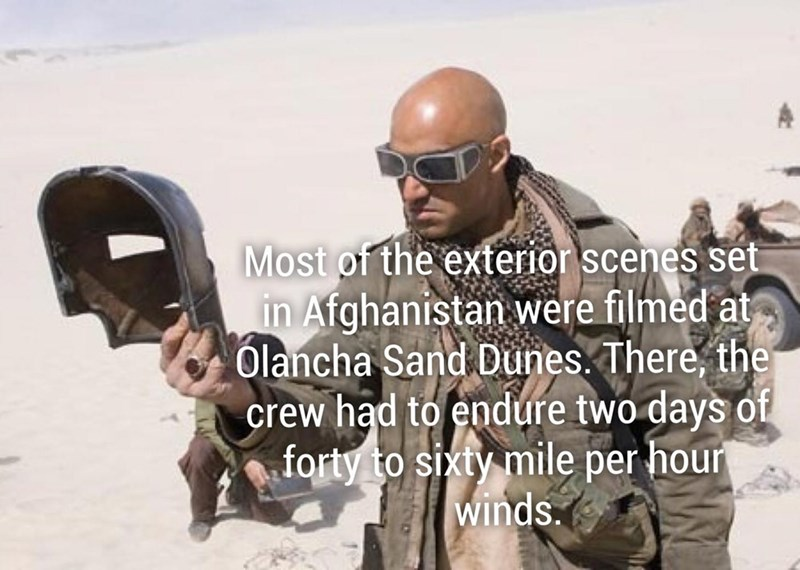 Iron man fun fact about how the exterior scenes in Afghanistan were filmed in Olancha Sand dunes with 60 mph winds