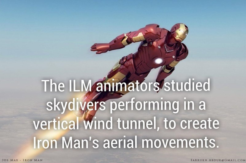 Animator studies up on how skydivers performed stunts in a vertical wind tunnel to create Iron Man's aerial movements.