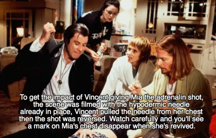 Facial expression - To get the impact of Vincent giving Mia the adrenalin shot, the scene was filmed with the hypodermic needle already in place, Vincent pulled the needle from her chest then the shot was reversed. Watch carefully and you'll see a mark on Mia's chest disappear when she's revived.