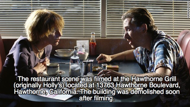 Conversation - The restaurant scene was filmed at the Hawthorne Grill (originally Holly's) located at 13763 Hawthorne Boulevard, Hawthorme, Califomia.The building was demolished soon after filming