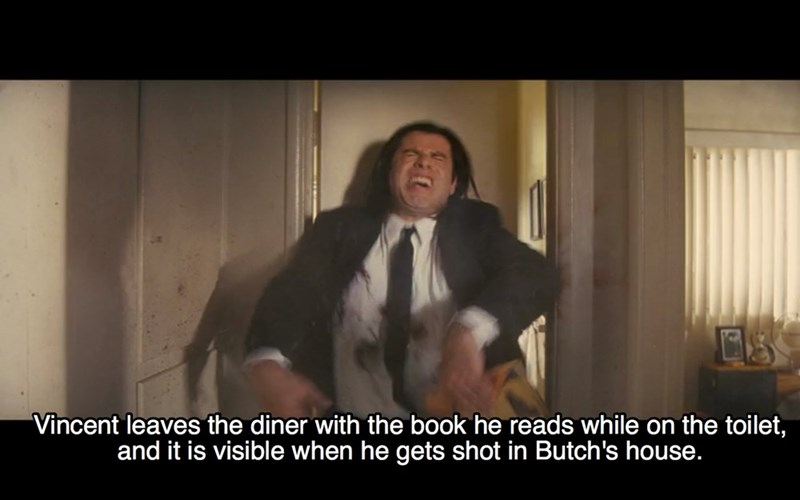 Photo caption - Vincent leaves the diner with the book he reads while on the toilet, and it is visible when he gets shot in Butch's house.