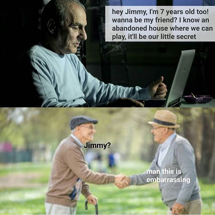 Funny meme about an old man pretending to be a little boy, goes to meet the little boy and it turns out it's another old man.
