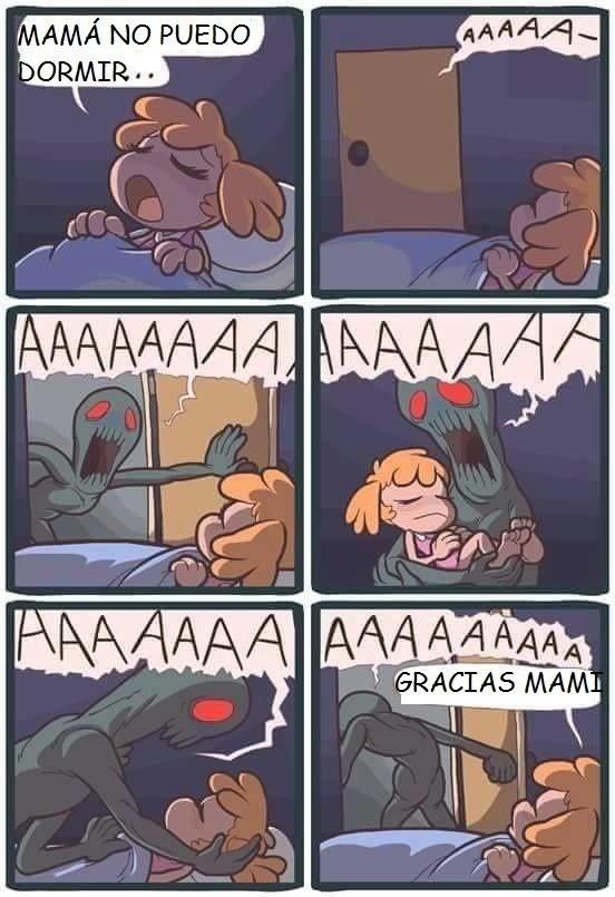 mama no puedo dormir y entra un monstruo