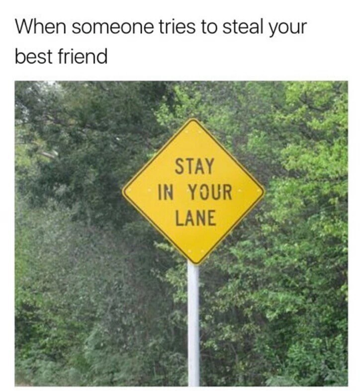 Sign - When someone tries to steal your best friend STAY IN YOUR LANE