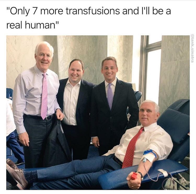 """People - """"Only 7 more transfusions and I'll be a real human"""" @tank.sinatra"""