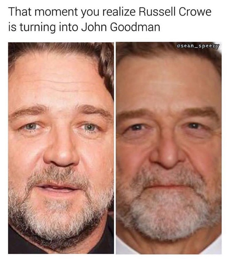 Face - That moment you realize Russell Crowe is turning into John Goodman osean speezY
