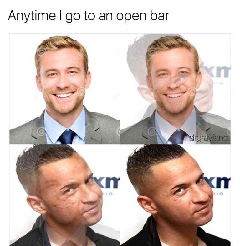 Funny meme about how when theres an open bar, straight laced people become a situation.