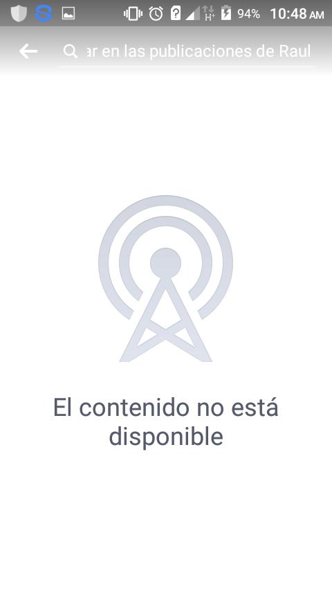 Logo - 94% 10:48 AM H* Q ar en las publicaciones de Raul El contenido no está disponible