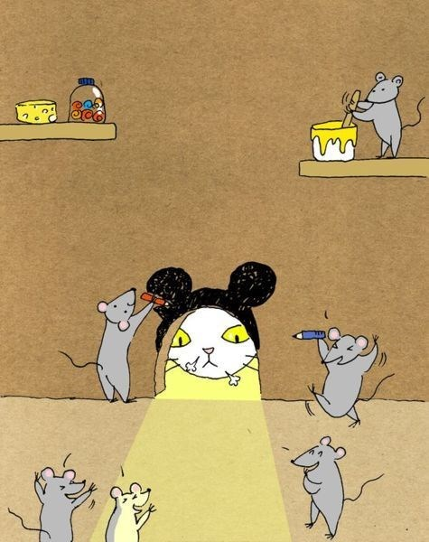 Cat peeking into mouse hole and the mice drew big mouse ears over the entrance and laugh at the cat.