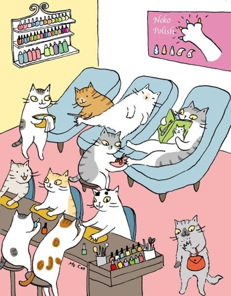 Cartoon of cats getting their nails done.